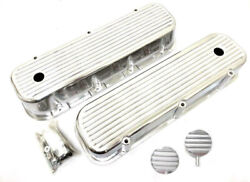 Big Block Chevy Polished Aluminum Tall Finned Valve Covers + Breather Pcv Combo