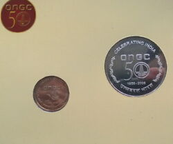 India 2006 50 Years Of Ongc 50 Rupees Silver Coinbu