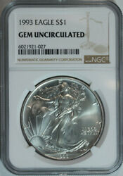 10 1993 American Silver Eagle Dollars / Ngc Gem Bu / Certified And Authenticated