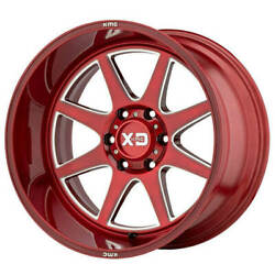 4ea 20x10 Xd Wheels Xd844 Pike Brushed Red W Milled Accent Off Road Rimss44
