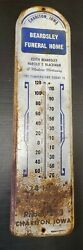 Vintage 1930s Large Beardsley Funeral Home Advertising Thermometer Chariton Iowa