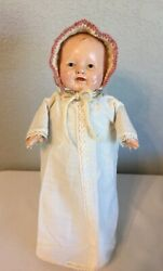 Horsman 11 Composition/cloth Mama Doll Early 1920and039s With Tagged Gown