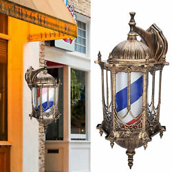 Barber Pole Rotating Spinning Illuminated Light Red White Blue Sign Lamp