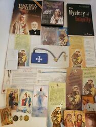 Lot Of Religious Items Rosary Beads Jewelry Book Dvd Medals Catholic Church