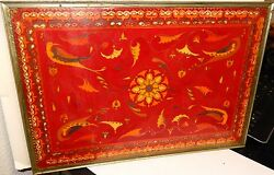 Rare Russian Cloisonne Lacquered Enamel Color Designed Birds Wire Inlaid Tray