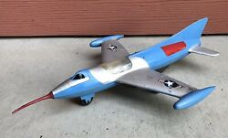 Vintage Marx Tin Friction Plastic And Metal Toy Jet Airplane
