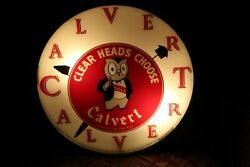 1940and039s Calvert Clear Heads Choose Telechron Whiskey Advertising Bubble Glass