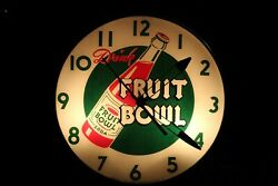 1950's Drink Fruit Bowl Soda Round Glass Light Up American Time Corp Clock