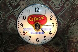 1950and039s Apex Washers By Warren Telechron Light Up Advertising Clock