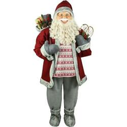 Santa Claus Holding Snowshoes Wearing Nordic Sweater 5 Ft Christmas Decoration