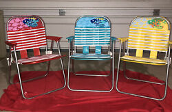 Vintage Lot Of 3 Childs Aluminum Tubed Folding Lawn Chairs Free Shipping