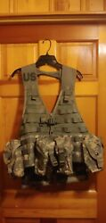 Us Army/military Load Carrier Fighting Vest Acu Digital Camo With 8 Pouches