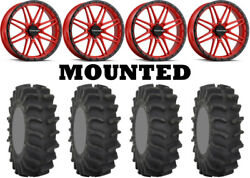 Kit 4 System 3 Xm310 Tires 35x9.5-18 On Raceline A11r Krank Xl Red Wheels Can