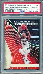 2019 Donruss Optic All Clear For Takeoff Red 6 Giannis Antetokounmpo Psa 10