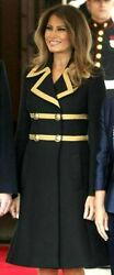 Dolce And Gabbana Military Black Gold Double Breasted Wool Dress Coat Us 4 6 It 42
