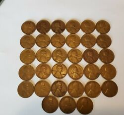 1932 P Lincoln Wheat Cent Lotpartial Rollof 33 Coins Cents, Free Shipping