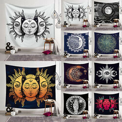 Sun and Moon Bohemian Tapestry Gypsy Hippie Wall Hanging Bedspread Cover Decor