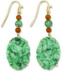 Natural Green Jadeite Jade Carved Dangling Earrings W/green And Red Beads And Hook