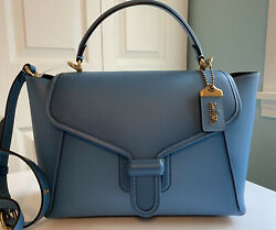 NWT Coach Courier Carryall Glovetanned Leather Shoulder Bag Pacific Blue 88348 $315.00