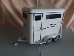 White Breyer Traditional Scale Model Horse Trailer 2 Horse w Ramp amp; Door