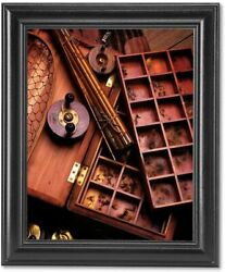 Wood Fly Reels Rod Lures Fish Memorabilia 2 Photo Wall Picture Black Framed