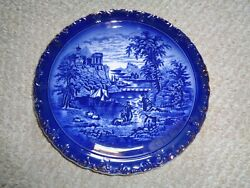 Flow Blue Dinner Plate 1880 Minton Chinese England Scalloped Edge Peasants Field