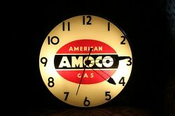 1950and039s American Amoco Gas Advertising Glass Clock