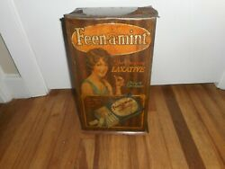 Vintage Feen A Mint Laxative Tin Litho Advertising Display Rack Sign