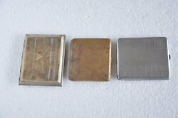 3 Pc Old Brass Engraved Fine Flat Shape Handcrafted Cigarette Case / Boxes