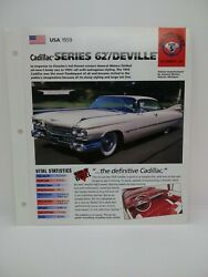 Usa 1959 Cadillac Series 62 Deville Hot Cars Group 5 36 Spec Sheet Brochure