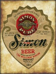 Simon Pure Beer Label 9 X 12 Sign