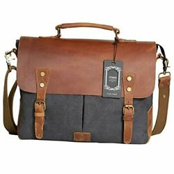 Messenger Satchel Bag for Men and WomenVintage Canvas Real Leather 14 inch Lap $58.49