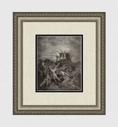 Gustave Dore 1800s Paradise Lost Woodcut Satanand039s Rebellion Signed Framed Coa