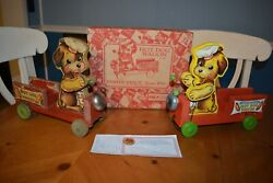 Fisher Price Pair Of Hot Dog Wagon Pull Toys 1 Vintage 750 + New Reproduction