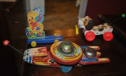 Fisher Price Pull Toy Lot 3 Space Blazer 750, Chick 302, Little Snoopy 693