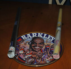 Charles Barkley Deal Sports Impressions Plate 10 1/4 Gold Sig. + 2 Rare Posters