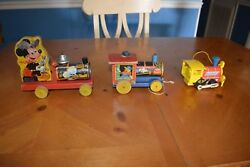 Fisher Price 3 Vintage Train Pull Toys Mickey 485, Chuggy Pop-up 616 And Toot 643
