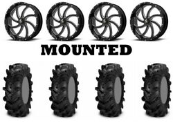 Kit 4 Itp Cryptid Tires 36x10-18 On Msa M36 Switch Black Wheels Can