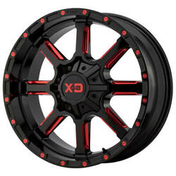 4ea 24 Xd Wheels Xd838 Mammoth Gloss Black Milled W Red Tint Off Road Rimss45