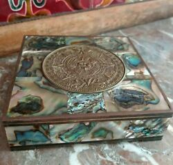 Vintage Taxco Abalone Shell Inlay Wood Lined And Brass Trinket Jewelry Box Stamped