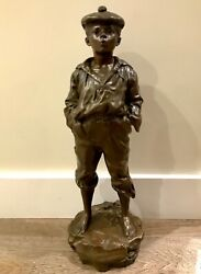 Antique Statue Szczeblewski Victor Bronze Sculpture Mousse Siffleur Boy 18lb