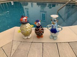 Fun Vintage Glass Clowns Or Bozos - Itand039s From Italy And Sold Together 3 Clowns