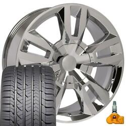5821 Chrome 22 Wheels, Goodyear Tires And Tpms Set Fit Chevrolet Gmc Cadillac