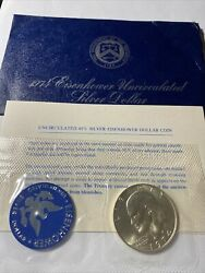 One 1 1974-s Eisenhower 40 Uncirculated Silver Dollar In Blue Envelope