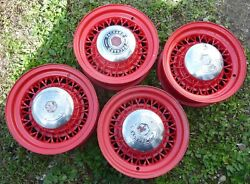 1955 1956 1957 1958 Packard Clippers Painted Hubcaps Wire Rims Wheels Set Oem