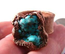 Oak Ring Hand Forged Blue Turquoise Arizona Antique Copper Printing Press Sz 10