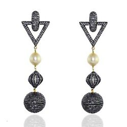 Natural Pearl Pave Diamond Victorian Look Dangle Earring 18k Gold Silver Jewelry