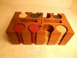 Vintage Antique Clay 180 Poker Chips And Steves Wood Caddy Holder