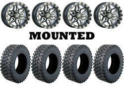 Kit 4 Moose Insurgent Tires 28x10-15 On Sedona Split Six Beadlock Machined 6 550