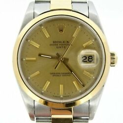 Rolex Date Mens 18k Yellow Gold Stainless Steel Oyster Band Champagne Dial 15203